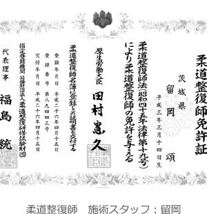 柔道整復師 施術スタッフ 留岡